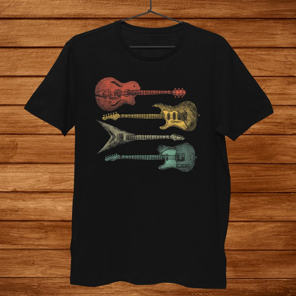 Retro Vintage Guitar Electrical Guitars Guitarist Shirt