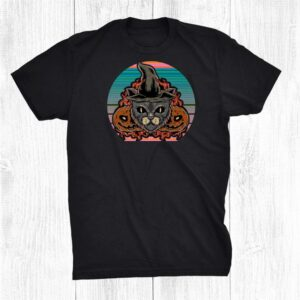 Retro Vintage Scary Halloween Black Cat Costume Witch Hat Shirt