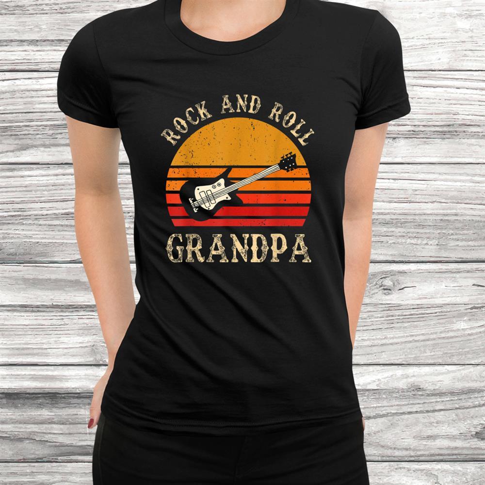 Rock N Roll Grandpa T-Shirt Vintage Guitar Player Shirt