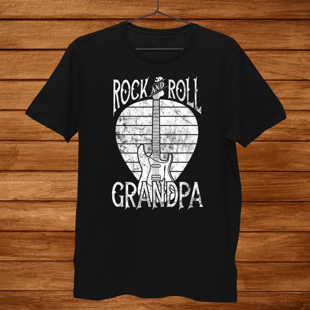 Rock N Roll Grandpa T-Shirt Vintage Guitar Player Gift