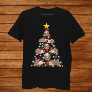 Santa Hedgehog Christmas Tree Funny Hedgehog Christmas Light Shirt