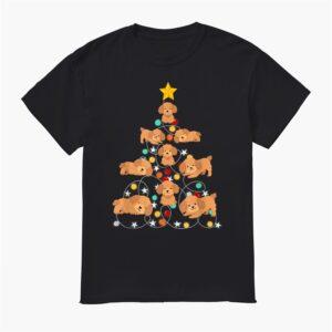 Santa Poodle Christmas Tree Funny Poodle Christmas Light Shirt