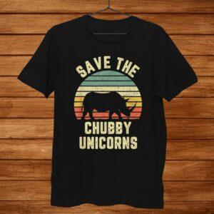 Save The Chubby Unicorn Tshirt Funny Vintage Shirt Rhino Men