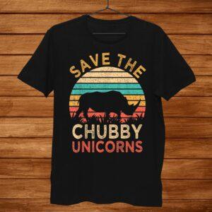 Save The Chubby Unicorns Vintage Funny Rhino Animal Rights Shirt