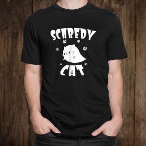 Scaredy Cat Shirt Cute Cartoon Ghost Cat Halloween Shirt