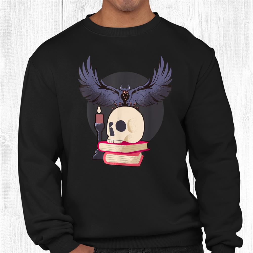 Scary Cursed Raven Enchanted Crow Skull Witch Halloween Shirt