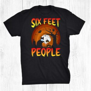Six Feet People Black Cat Social Distancing 2021 Halloween Shirt