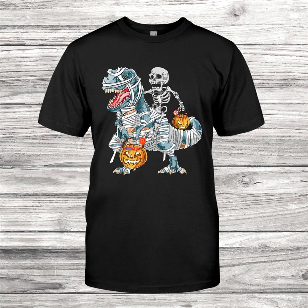 Skeleton Riding Mummy Dinosaur Halloween T Rex Kids Boys Men Shirt