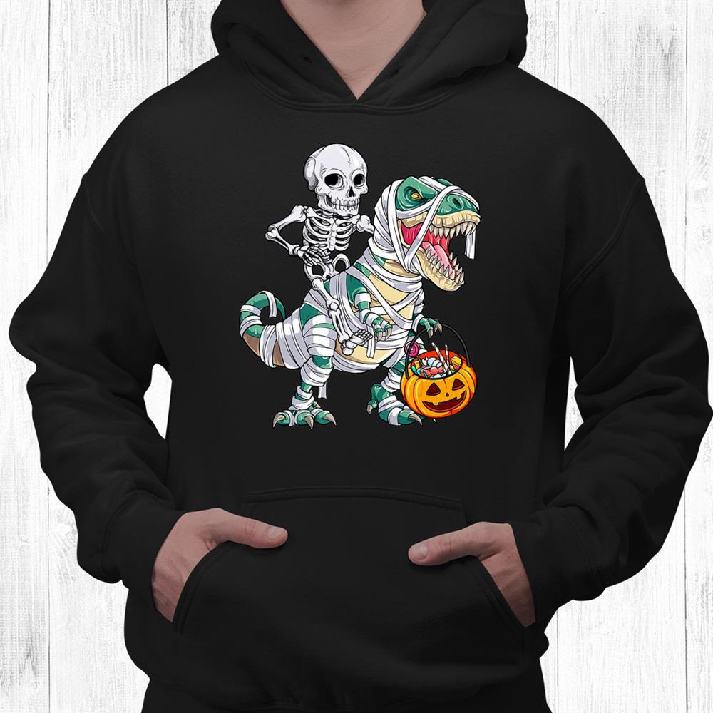 Skeleton Riding Mummy Dinosaur T Rex Halloween Shirt