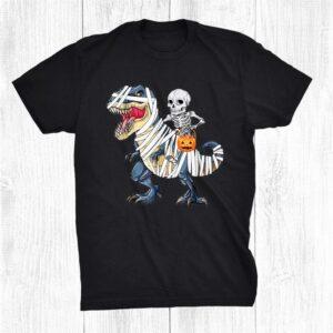 Skeleton Riding Mummy Dinosaur T Rex Shirt