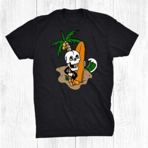 Skeleton Surfing Halloween Funny Hawaiian Halloween Surfing Shirt