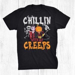Skeleton Vampire Pumpkin Scarecrow Death Scythe Halloween Shirt