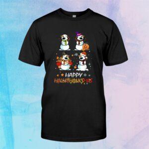 Snowman Halloween And Merry Christmas Happy Hallothanksmas Shirt