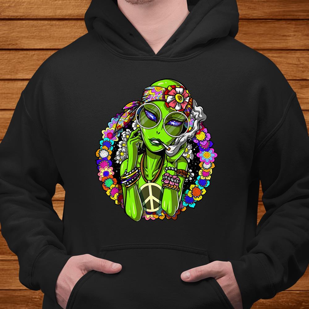 Space Alien Hippie Peace Weed Marijuana Festival Gift Women Shirt