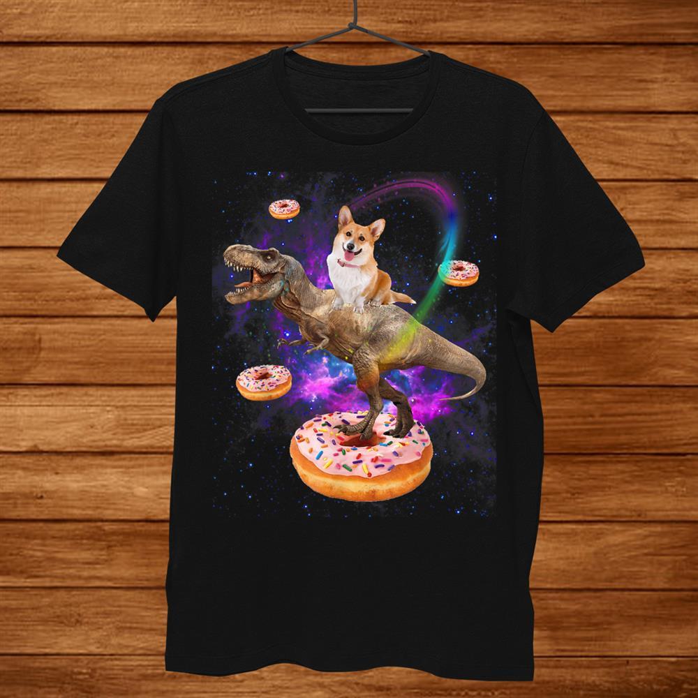 Space Corgi Riding Dinosaur T Rex Donuts Galaxy Funny Corgi Shirt