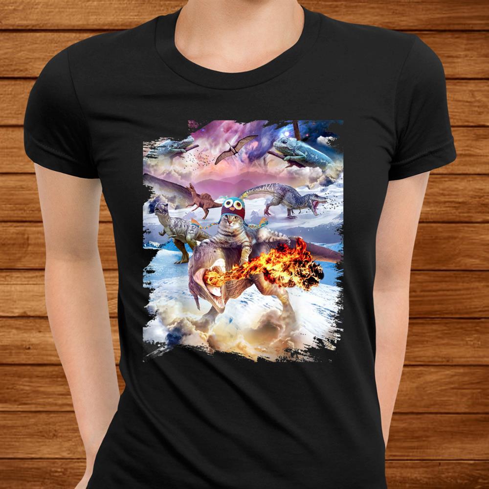 Space Kitty Cat Riding Dinosaur Shirt