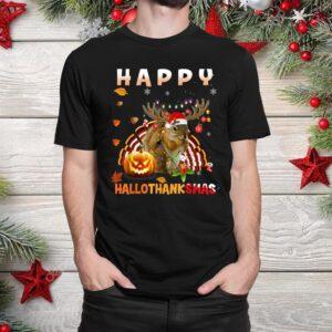 Squirrel Halloween And Merry Christmas Happy Hallothanksmas Shirt