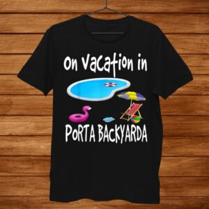 Staycation Pool Backyard Vacation Flamingo Flip Flops Lounge Shirt