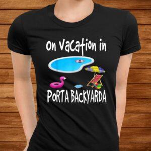 staycation pool backyard vacation flamingo flip flops lounge t shirt Men 3