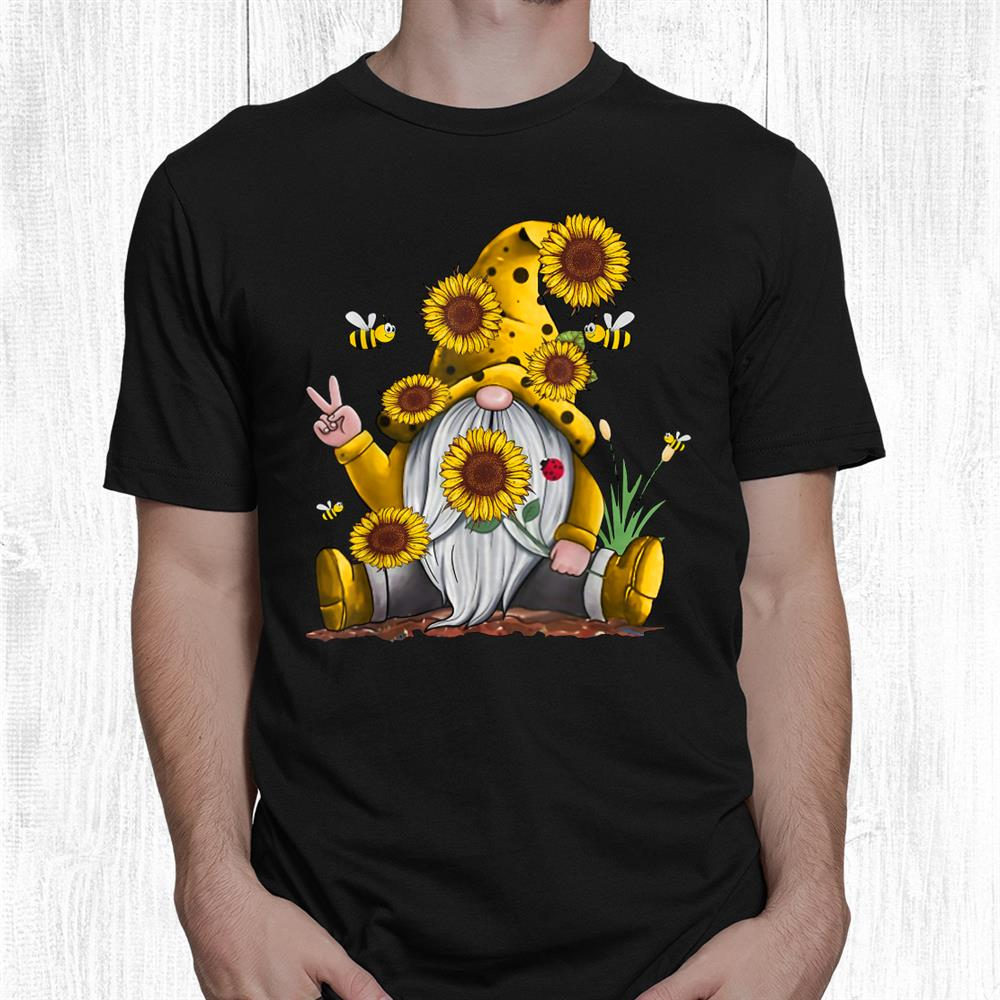 Sunflower Gnome With Bee Funny Hippie Gnome Shirt