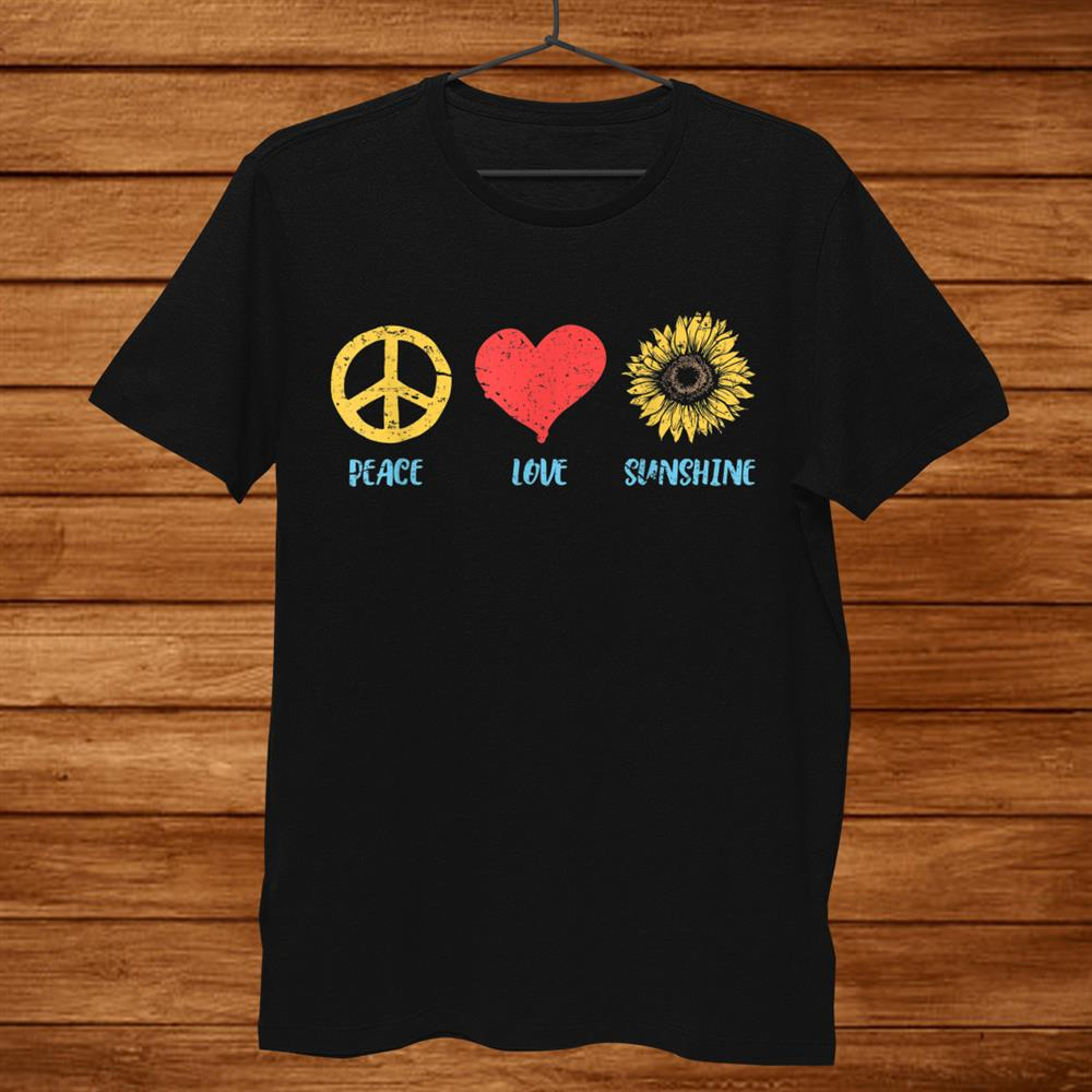 Sunflower Peace Sign Love Sunshine Vintage Hippie 60s 70s Shirt