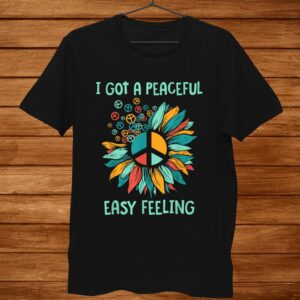Sunflower Peace Sign Peaceful Easy Feeling Hippies0s0s Shirt