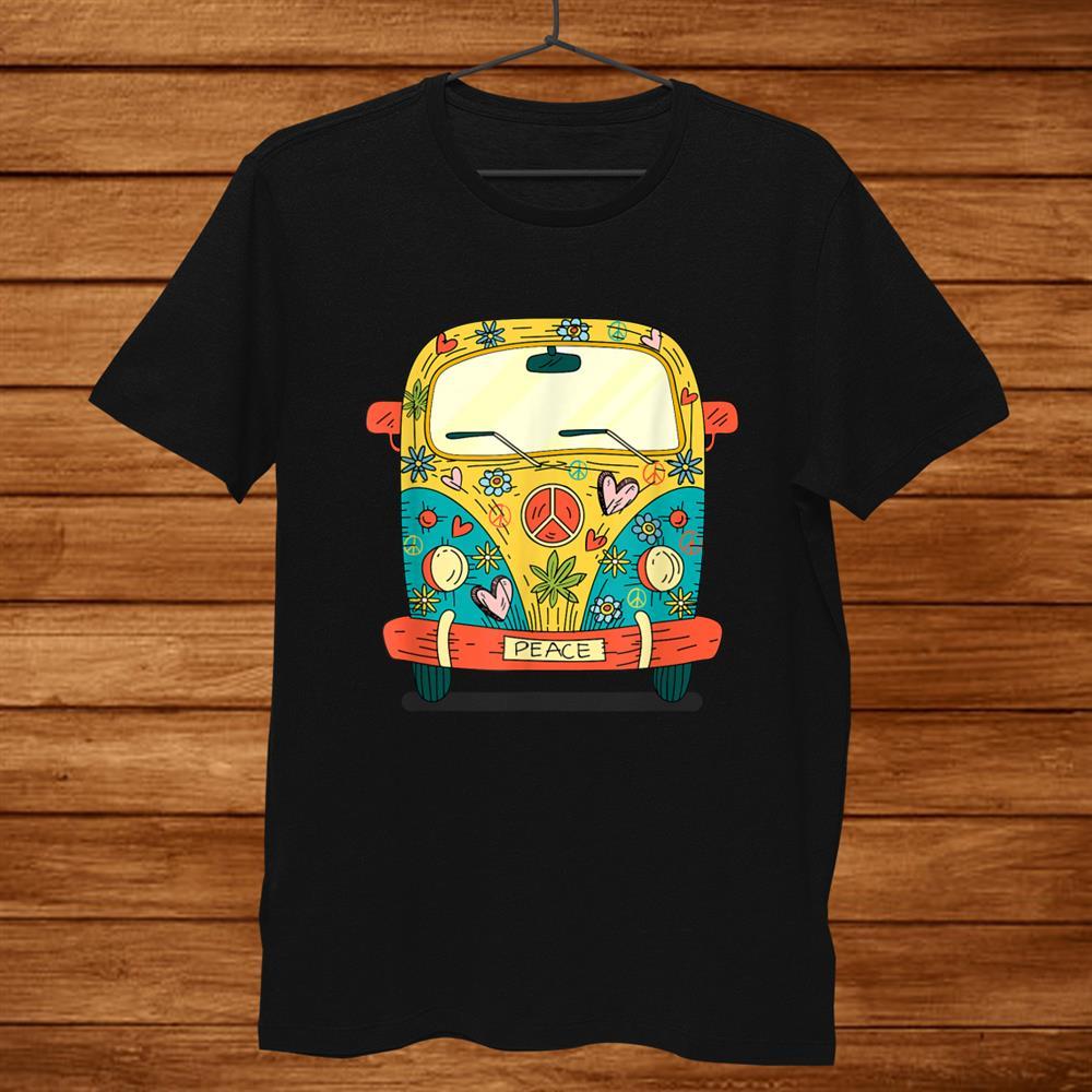 Surf Camping Bus Van Love Retro Peace Hippies Hippie Flowers Shirt
