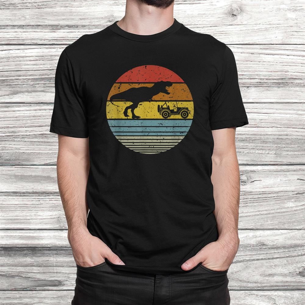 T Rex Chasing Jeepsx4 Retro Vintage Dinosaur Lovers Shirt