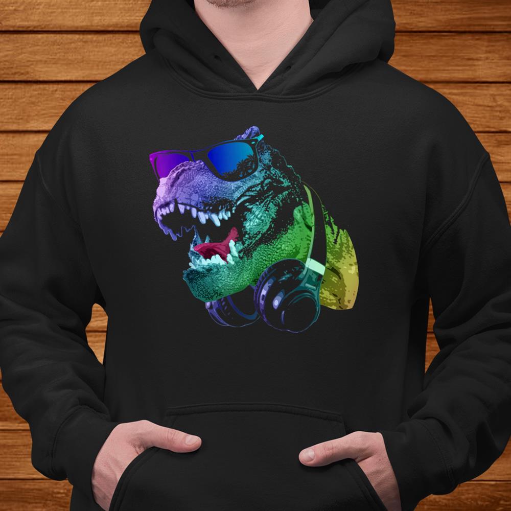 T Rex Dinosaur With Sunglasses And Headphones Shirt
