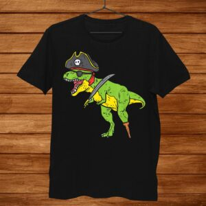 T Rex Pirate Dinosaur Dino Funny Halloween Costume Boys Kids Shirt