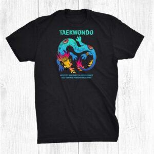Taekwondo 5 Tenets Colorful Dragon Artwork Martial Arts Shirt