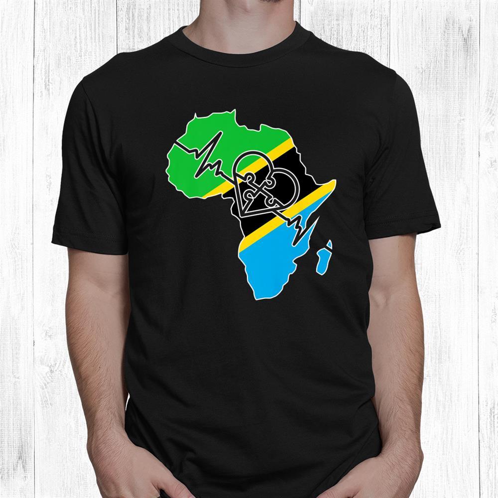Tanzania Flag In Africa Map Heartbeat Love Tanzania Shirt