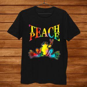 Teach Peace Frog Hippie Vintage Peace Sign Shirt