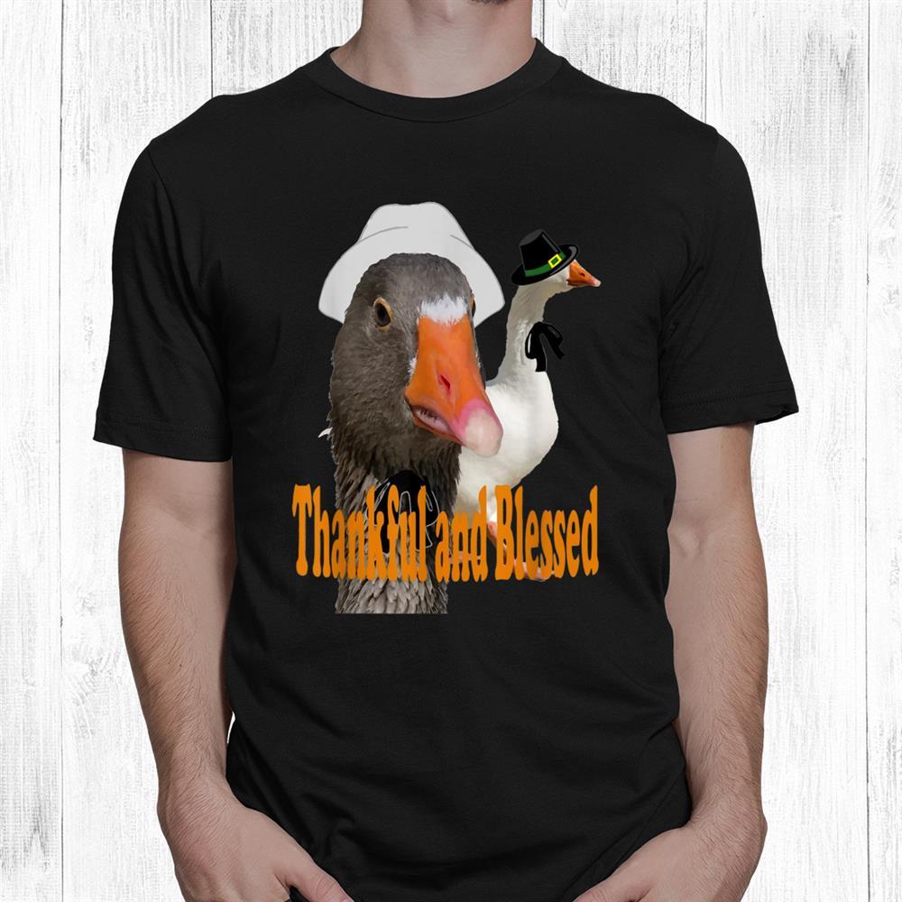 Thankful And Blessed Thanksgiving Pilgrim Ducks In Costume Shirt