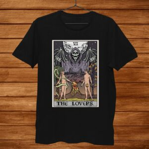 The Lovers Tarot Card Grim Reaper Halloween Gothic Couples Shirt