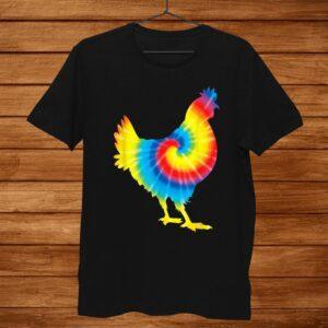 Tie Dye Chicken Rainbow Print Hen Fowl Hippie Peace Shirt