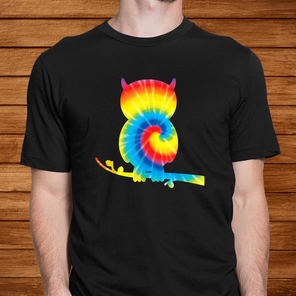 Tie Dye Owl Rainbow Print Bird Owlet Hippie Peace Shirt