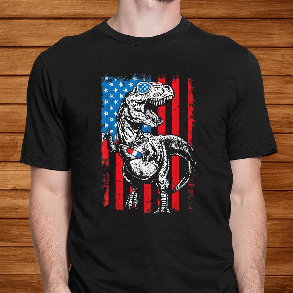 Trex Popsicle Usa Flag Funnyth Of July Dinosaur Shirt