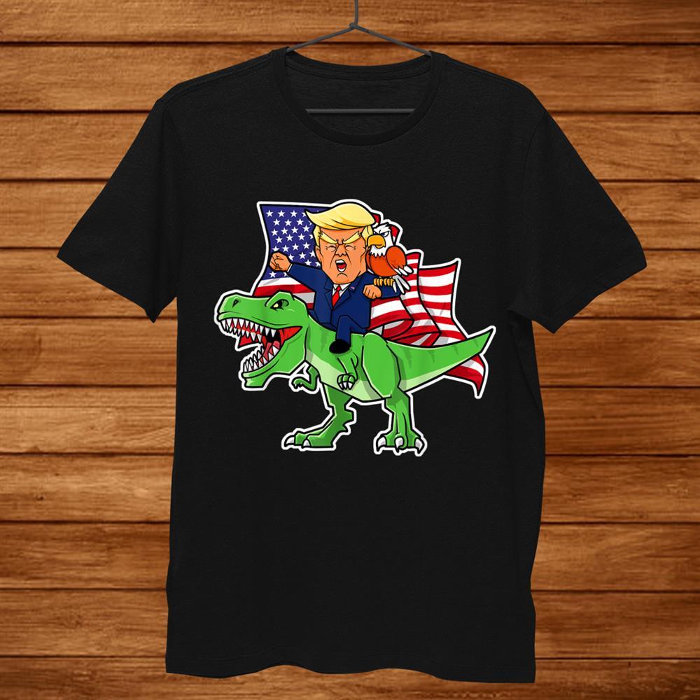 Trump Riding A Dinosaur Trex Patriotic Boysth July Shirt