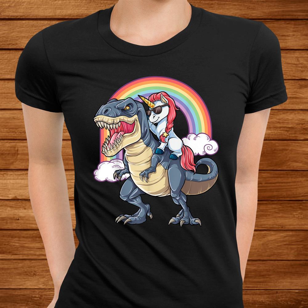 Unicorn Riding T Rex Shirt Dinosaur Boys Girls Kids Shirt