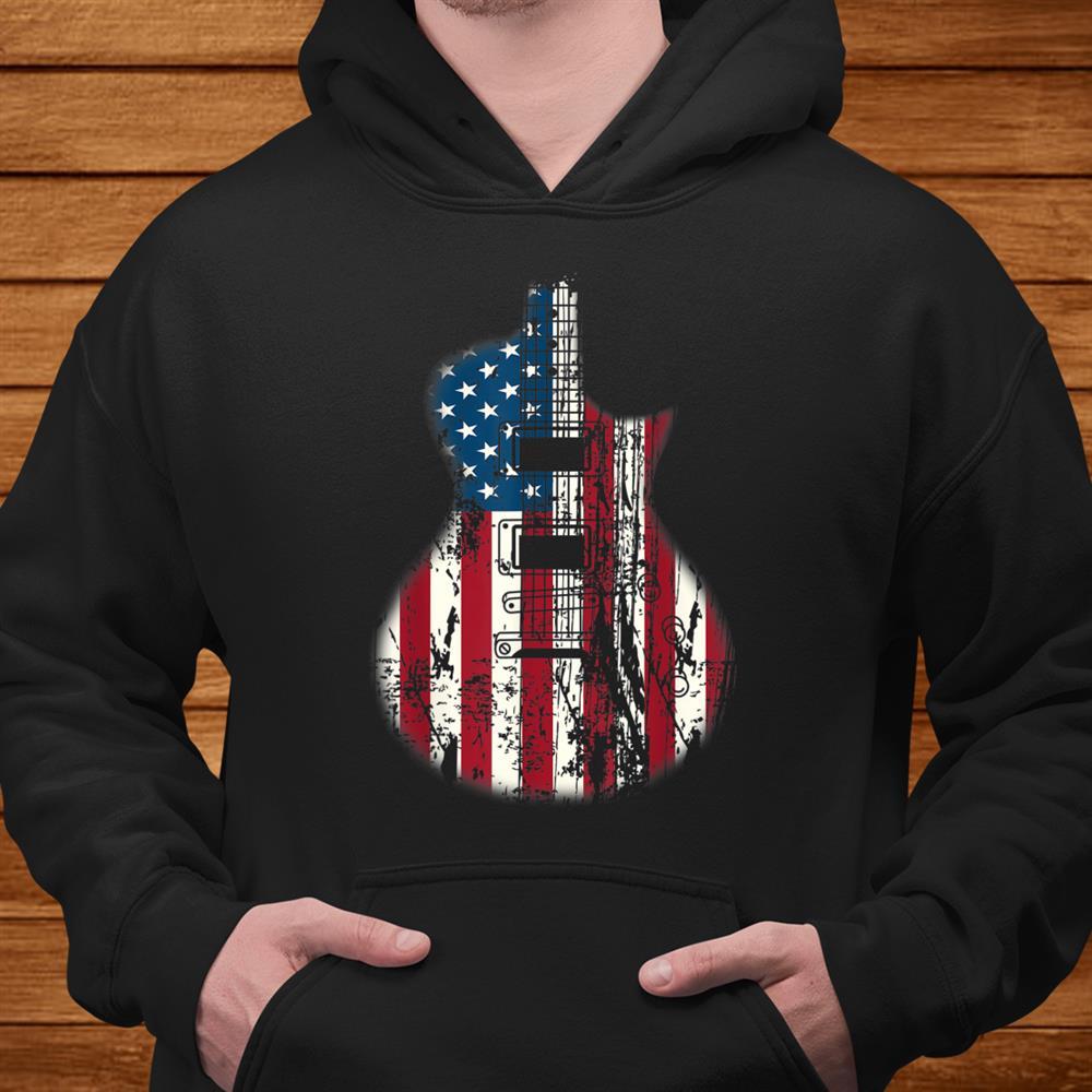 Us American Flag Guitar Musician Distressed Guitars Vintage Shirt