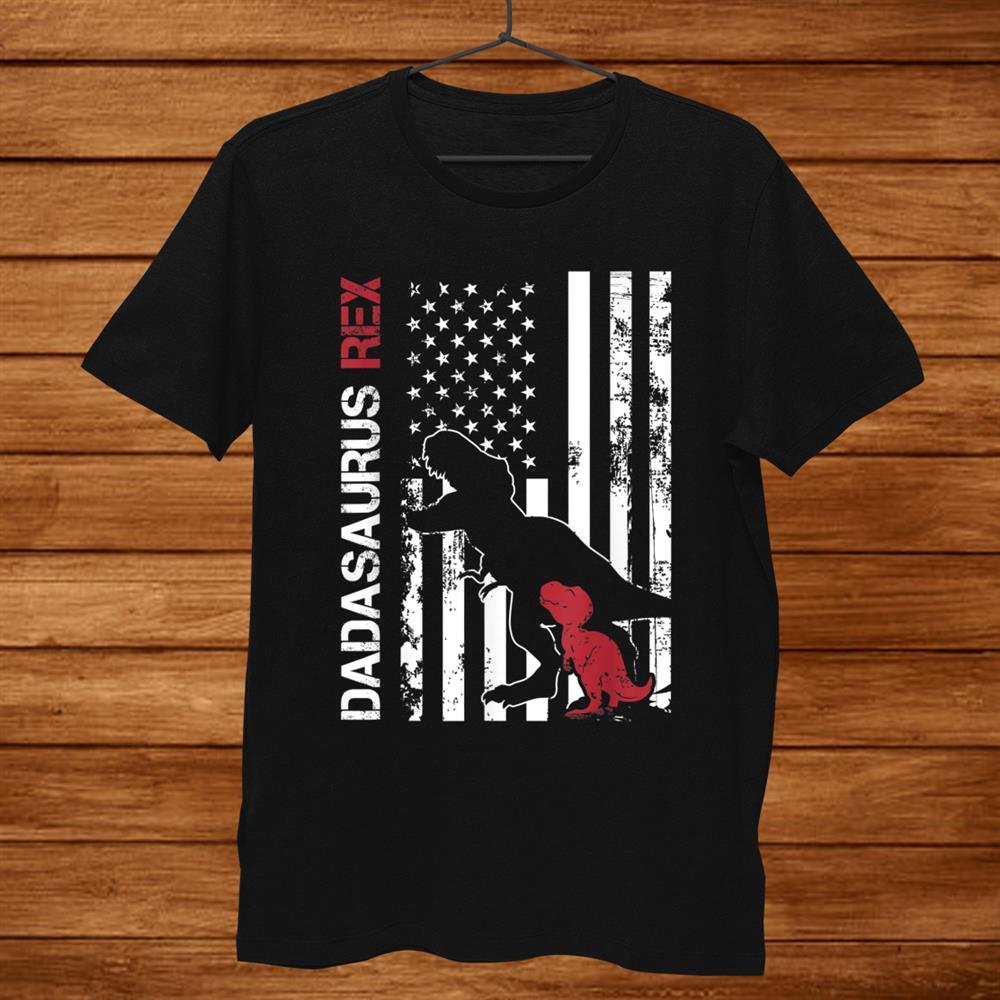 Usa Flag Dadasaurus Rex Dinosaur Family Shirt