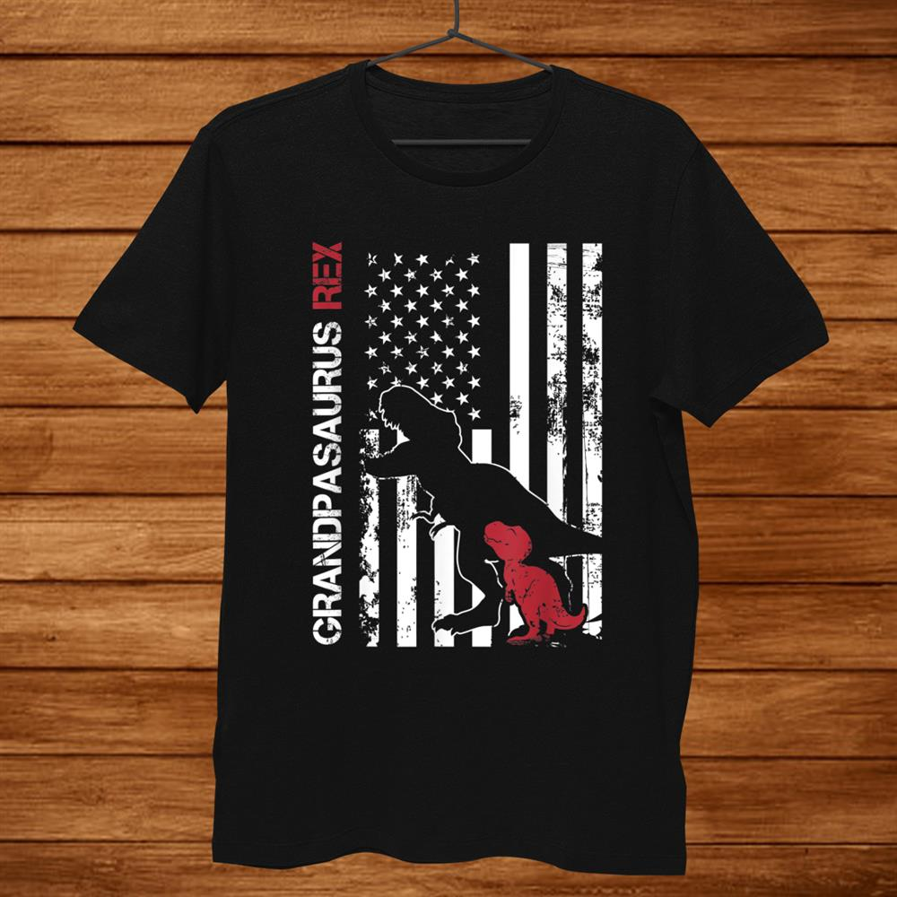 Usa Flag Grandpasaurus Rex Dinosaur Family Shirt