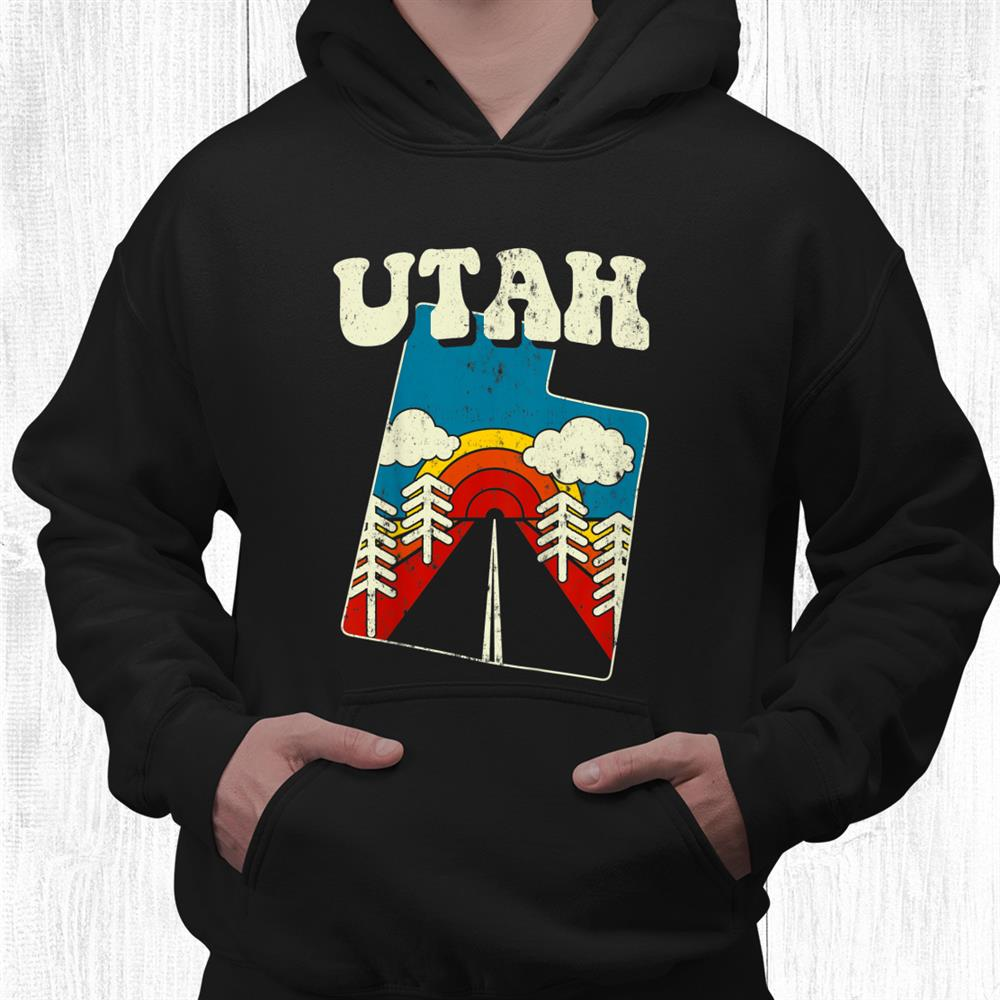 Utah Vintage State Rainbow Hippie Retro 70s Map Shirt