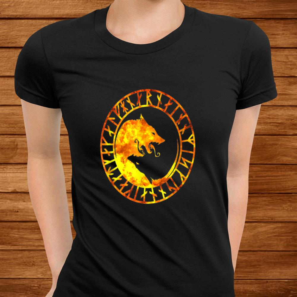 Viking Symbol Norse Wolf Fire Flames Gift For Vikings Lover Shirt