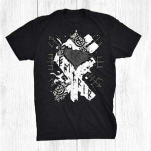 Viking Wolf Rune Fenrir And Vegvisir Runes Symbol Shirt
