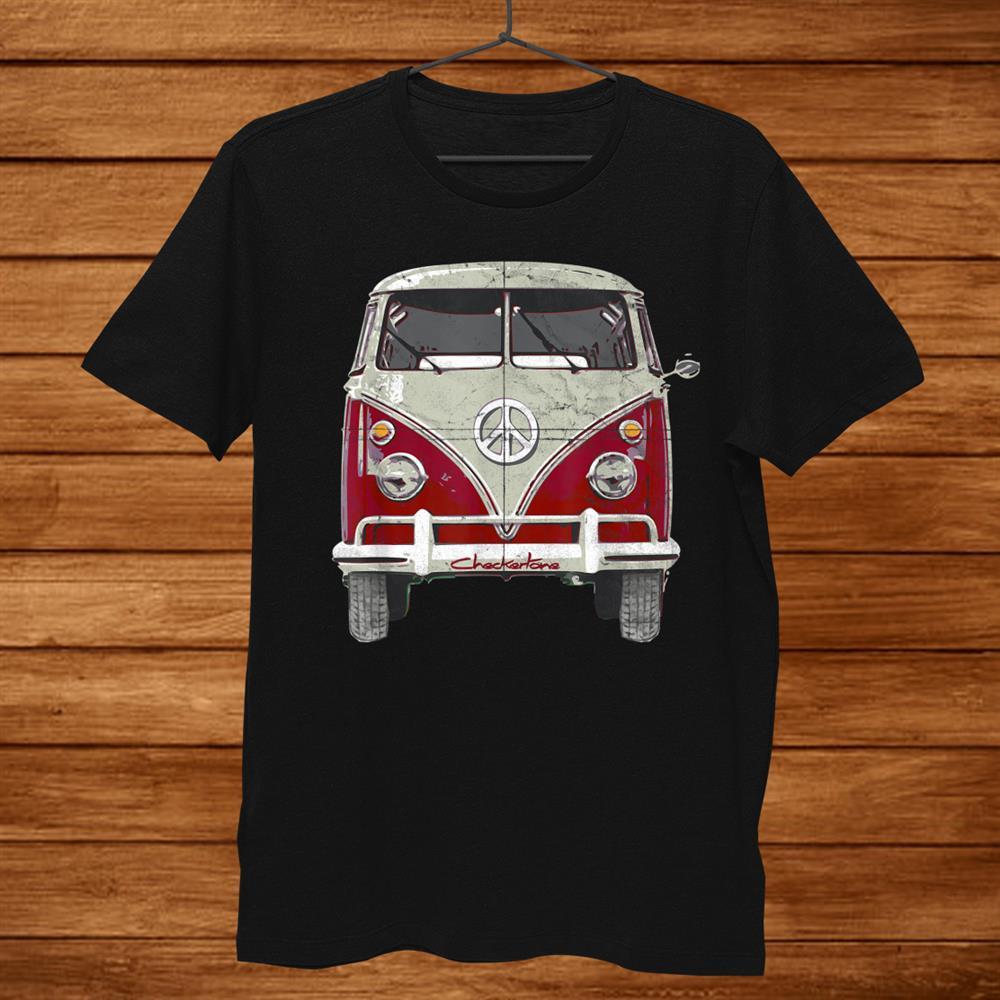 Vintage960s Hippie Red Micro Bus Van Surf Wagon Shirt
