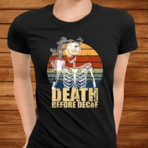 vintage death before decaf coffee skeleton java or die t shirt Men 3