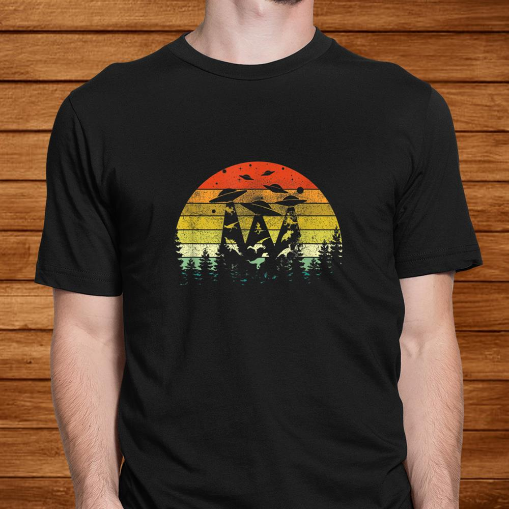 Vintage Dinosaur Alien Abduction T-Shirt Funny Alien Shirt