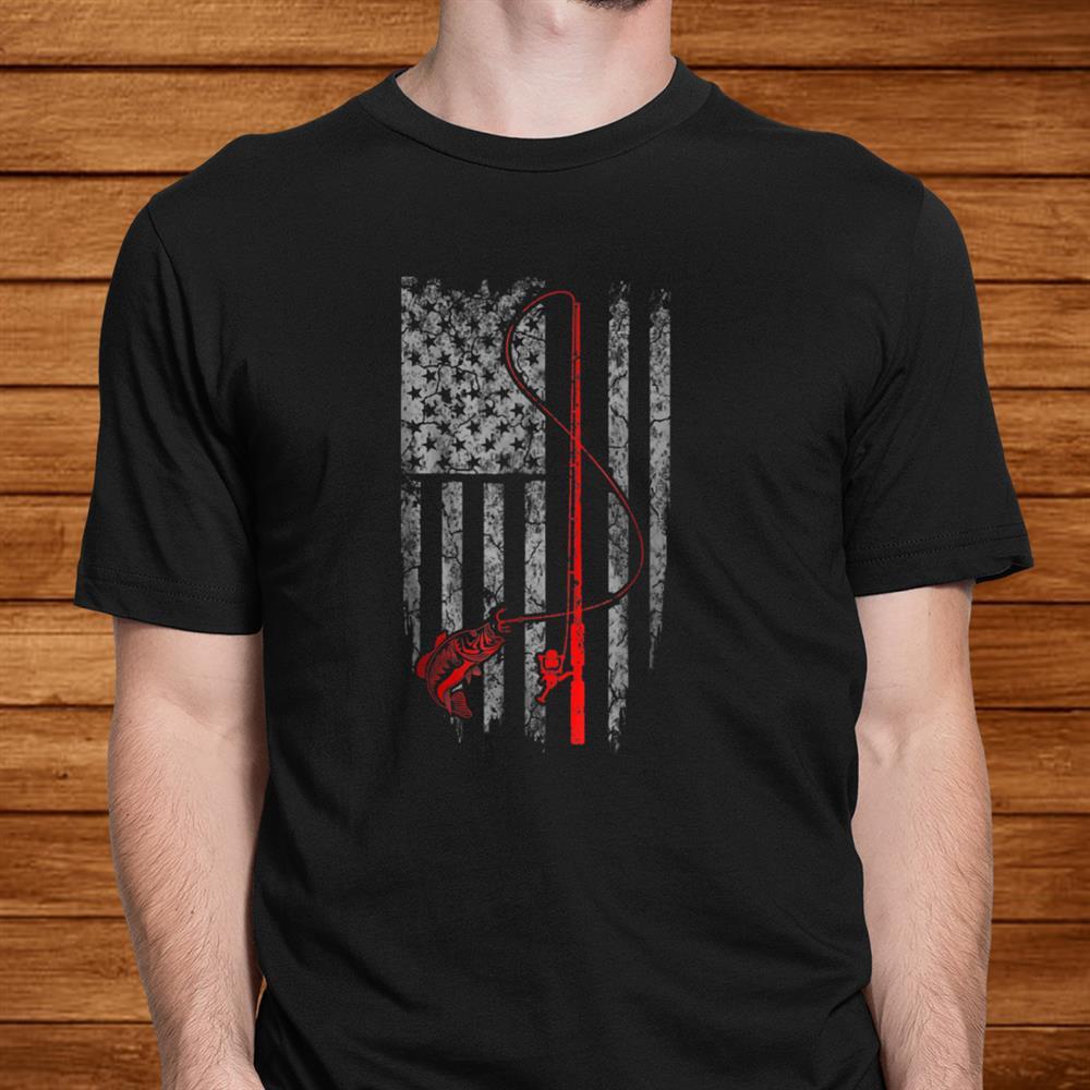 Vintage Fishing T Shirt With American Flag Bass Fishing Men